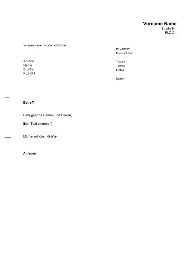 Word Briefvorlage | ophion.co