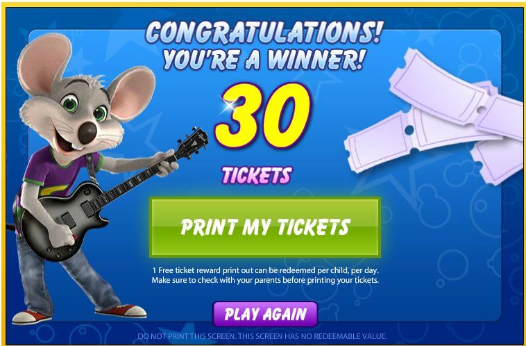 Win Free Tickets for Chuck E Cheese
