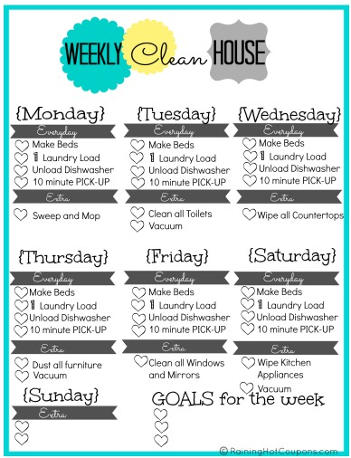 FREE Printable Weekly House Cleaning List - weekly household chore list