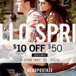 Aeropostale: RARE $10 off a $50 Purchase Coupon