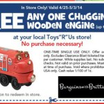 Toys R Us Coupon for a FREE Chuggington Wooden Engine Toy ($9.99 VALUE)