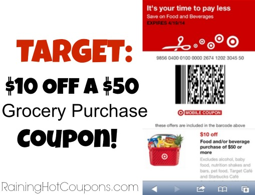 Hot Target 10 Off A 50 Grocery Purchase Coupon