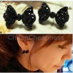 Popular Black Rhinestone Crystal Bowknot Earrings Only $1.58 + FREE Shipping!