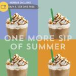 Starbucks: Buy 1 Get 1 FREE Frappuccino Blended Beverage (Starbucks Members)!