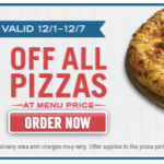 Dominos: 50% Off Any Pizza at Menu Price (Thru 12/7)