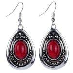 Amazon: Vintage Tibetan Silver White Oval Burgandy Dangle Drop Hook Earrings Only $3.65 Shipped