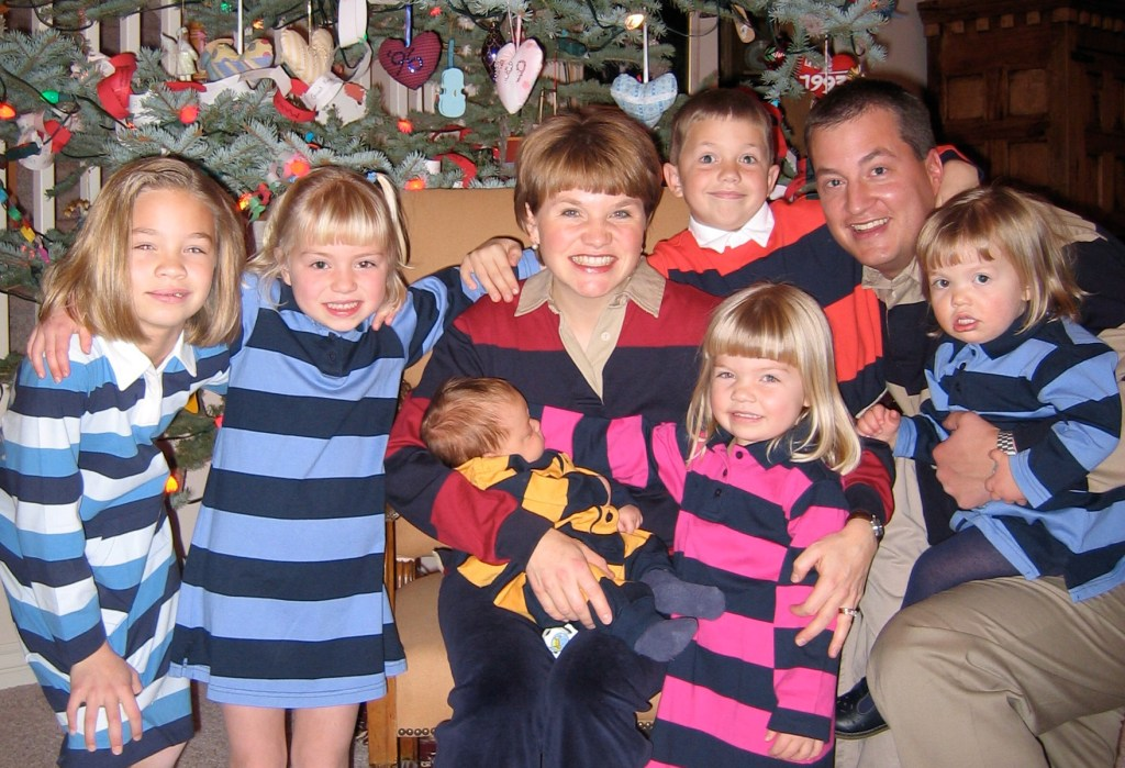 Rugby shirt family Christmas card photo