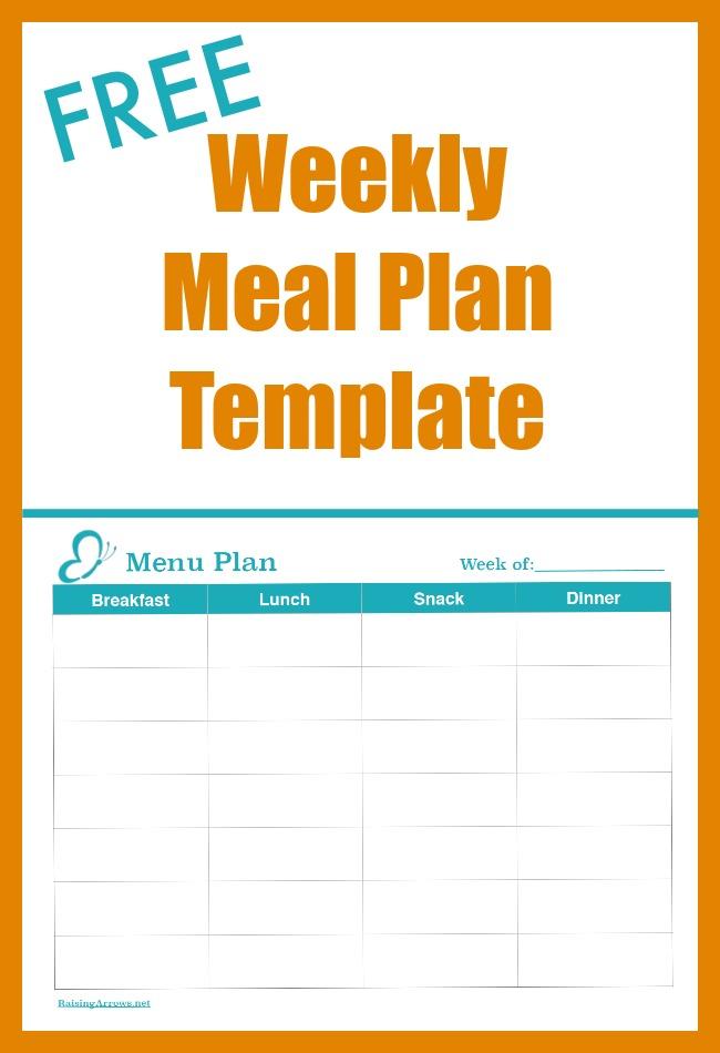 FREE Weekly Meal Plan Template