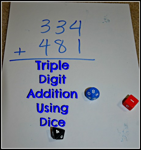 triple digit addition using dice