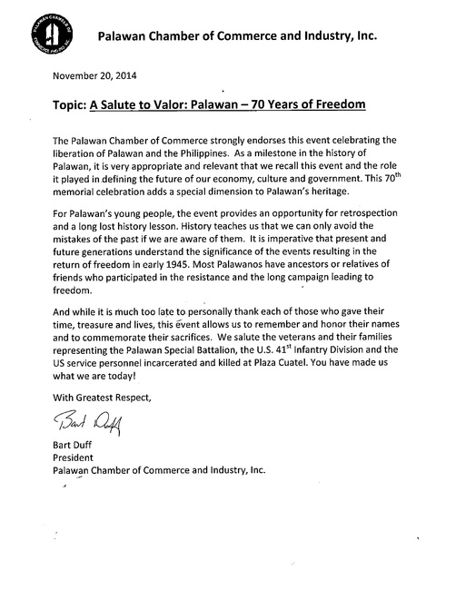 A Salute to Valor Palawan Liberation 2018 - endorsement letters
