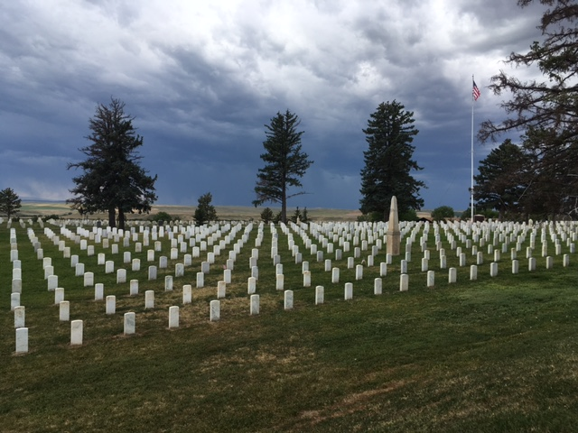 The cemetery at Little Bighorn National Battlefield is a dramatic lesson in a dramatic setting. Storm clouds were approaching and pushed us on our way.
