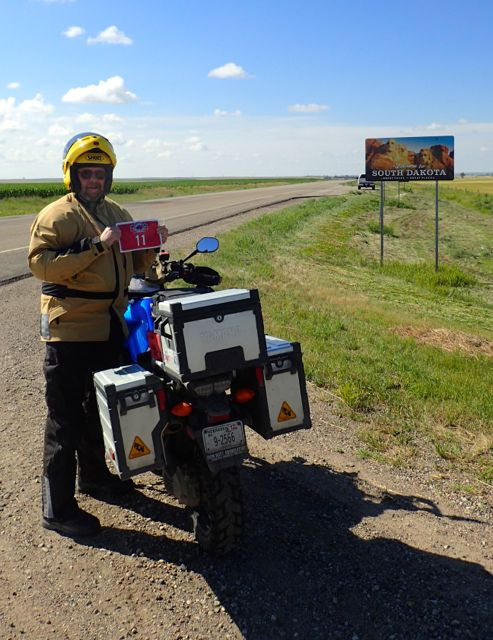 Me and my red tour flag entering South Dakota.