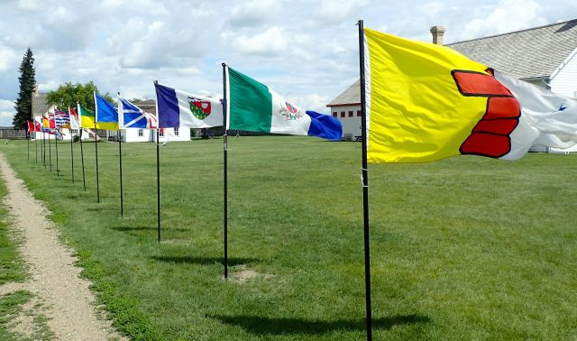 Canadian province flags at Fort Battleford.