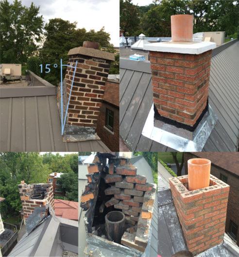 Reconstruction d'une cheminée qui s'écroule
