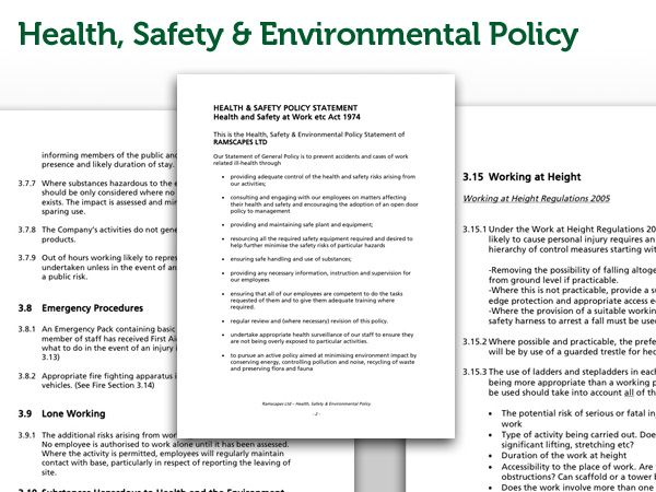 Ramscapes Health and Safety Policy Commercial Landscaping Company
