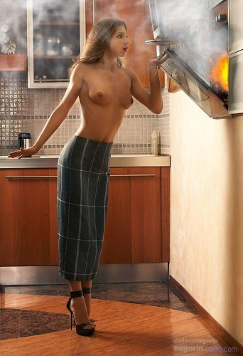 topless kitchen fire