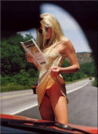 camille grammer flashing on the side of the road