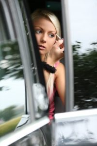Shaved Totally Shaved Platinum Blonde Annely Gerritsen with Coin Slot Pussy from W4B Wearing Blue Dress in Car
