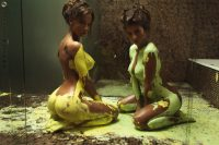 nude girls playing with paint