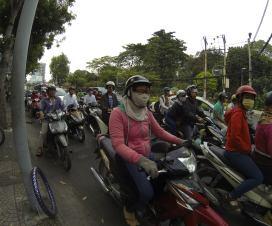 Rush hour traffic at Ho Chi Minh City, Vietnam