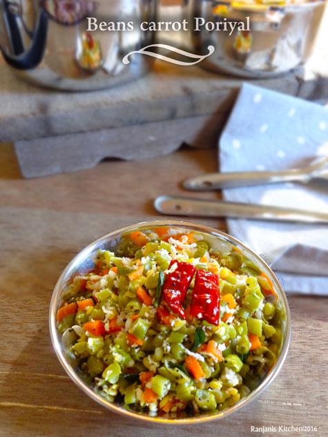 Beans Carrot poriyal recipe | How to make Beans Carrot Poriyal