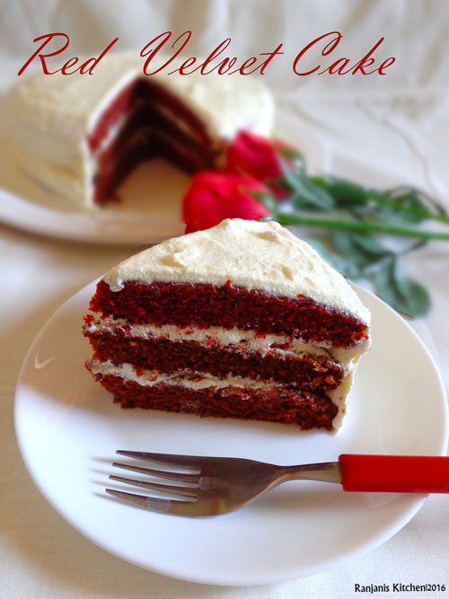 Eggless red velvet cake | Red velvet cake with cream cheese frosting