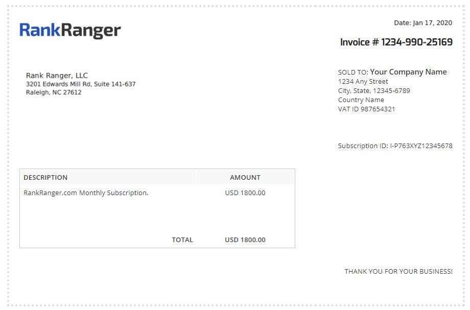 View Invoices Rank Ranger