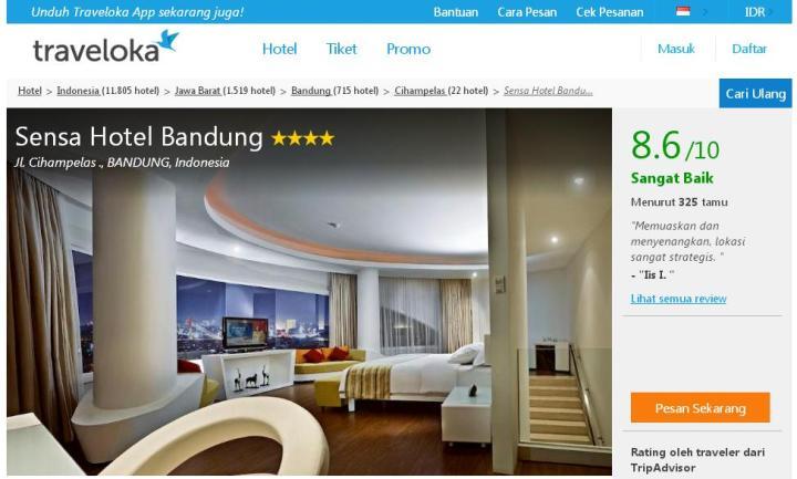 contoh tampilan halaman hotel di Traveloka