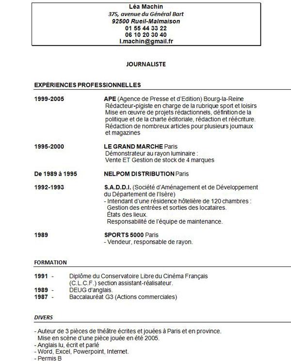 exemple de cv etudiant avec experience professionnelle pdf