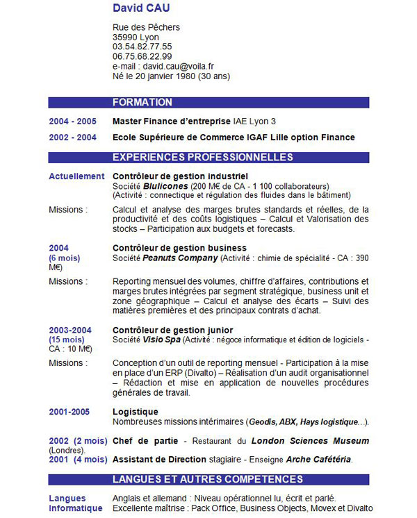 model de cv menuisier