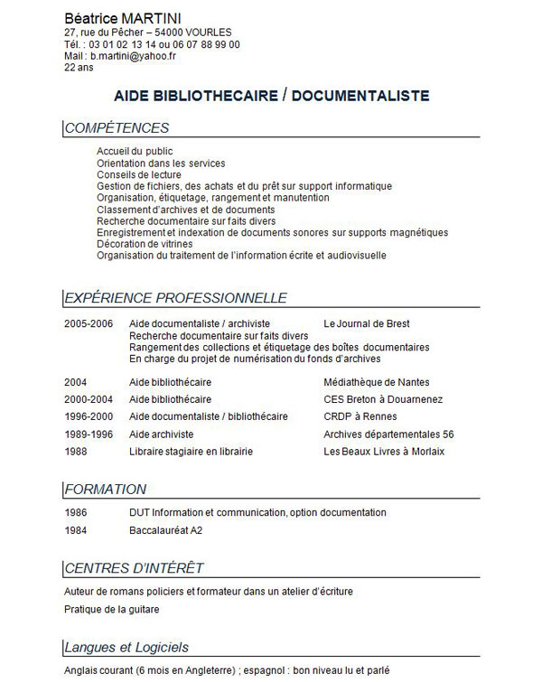 exemple de cv classique sans photo