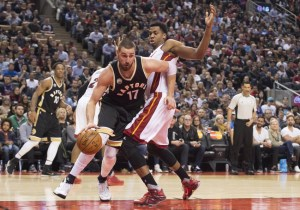 Toronto Raptors' Valanciunas out for rest of Heat series, Whiteside listed day-to-day
