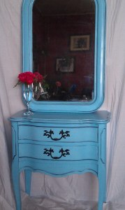 Custom Painted French Provincial Paired with Antique Mirror