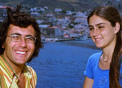 Italian singer-songwriter Al Bano (Albano Carrisi) and American singer and actress Romina Power posing smiling during a holiday in Greece. Greece, 1970s