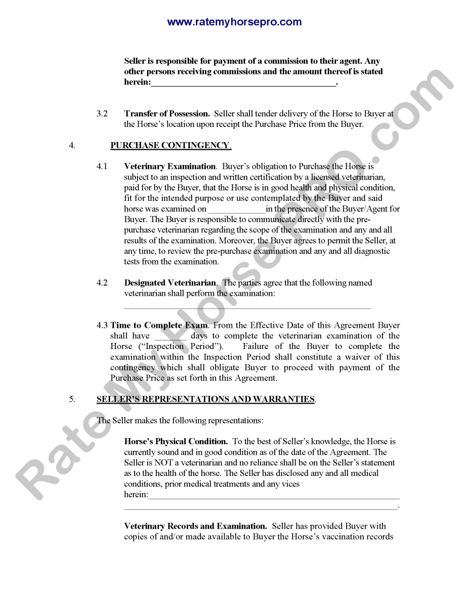 Sample Contract With Initials – Horse Sales Contract
