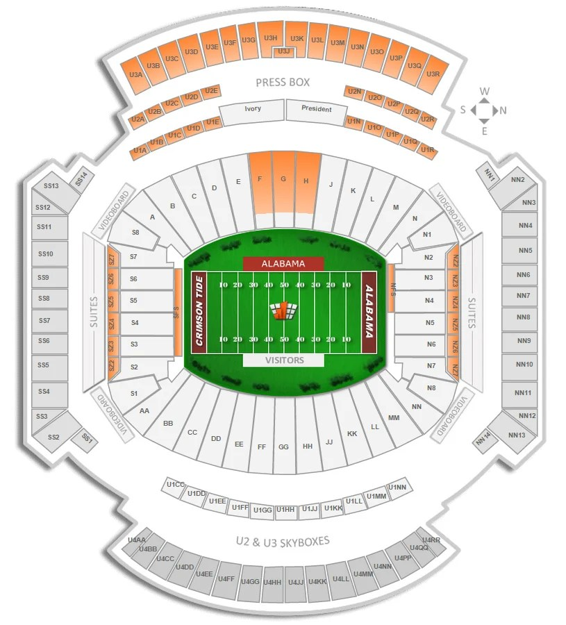 Alabama Football Bryant-Denny Stadium Seating Chart - RateYourSeats