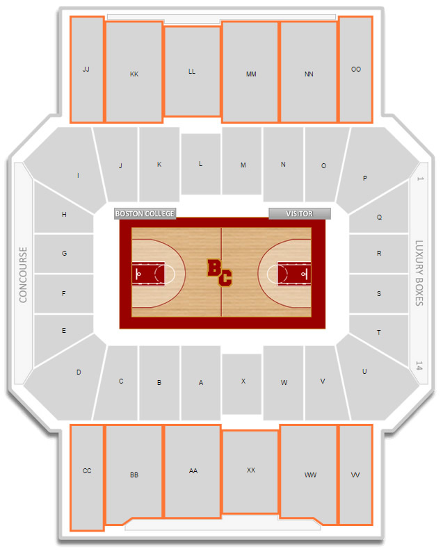 Boston College Basketball Conte Forum Seating Chart - RateYourSeats