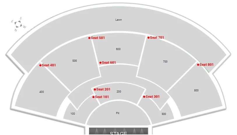 Do the seat numbers at the Xfinity Theatre start on the side and get