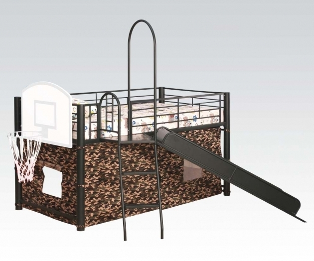 Metal Loft Bed With Slide Acme Image 34 Bed Headboards