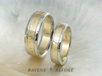 unique two tone wedding band set  hand hammered wedding ...