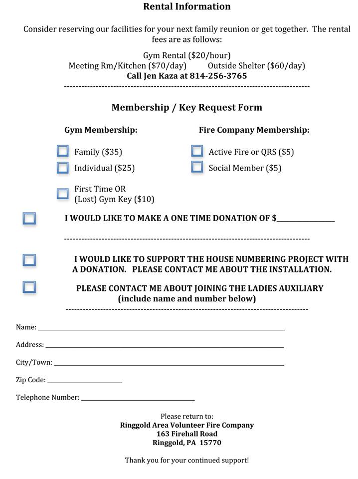 Memberships \u2014 Ringgold Area Volunteer Fire Company