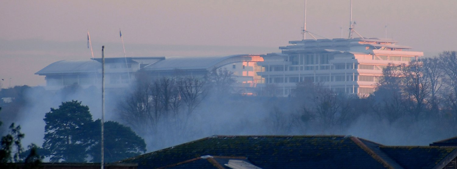 Photograph of Epsom Grandstand taken from outside our Epsom studio.
