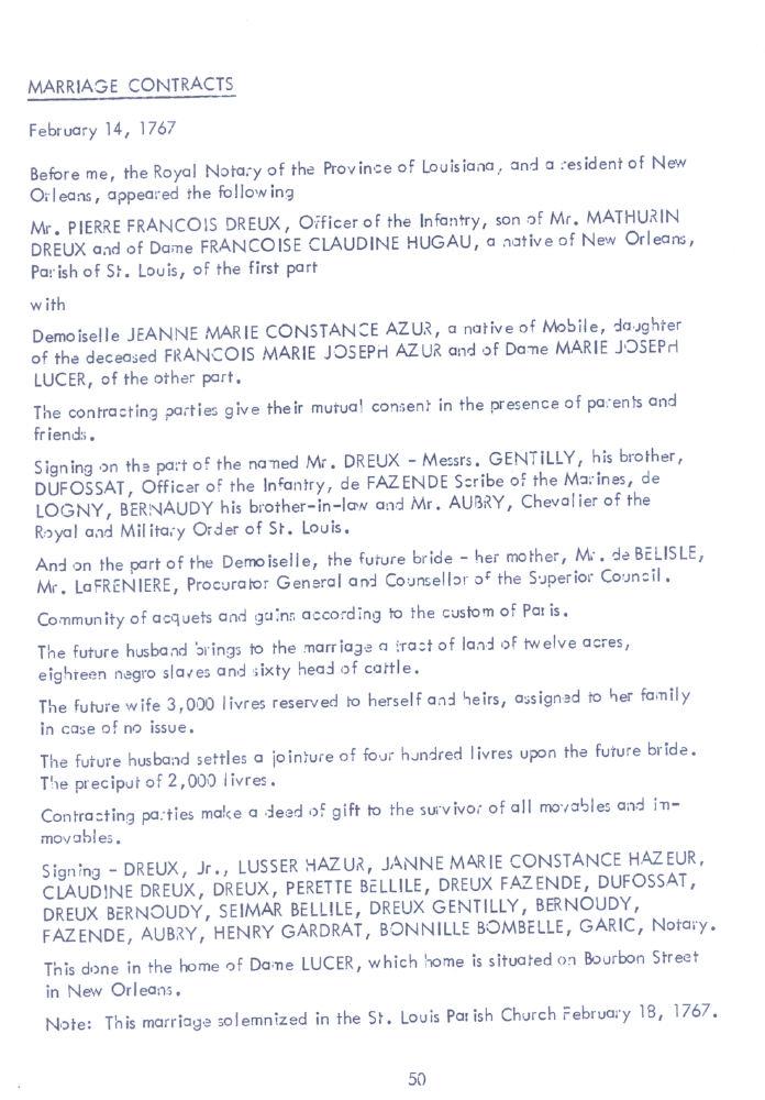 Marriage Contract Dreux-Hazure 1767 Stewart - de Jaham Family Genealogy - marriage contract
