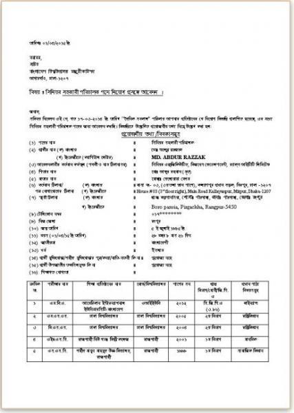 cv format template bd