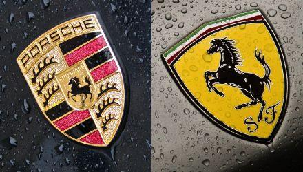 Logótipos Porsche e Ferrari