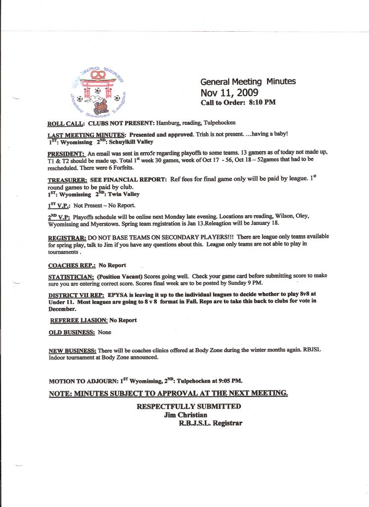 League Meeting Minutes Reading Berks Junior Soccer League