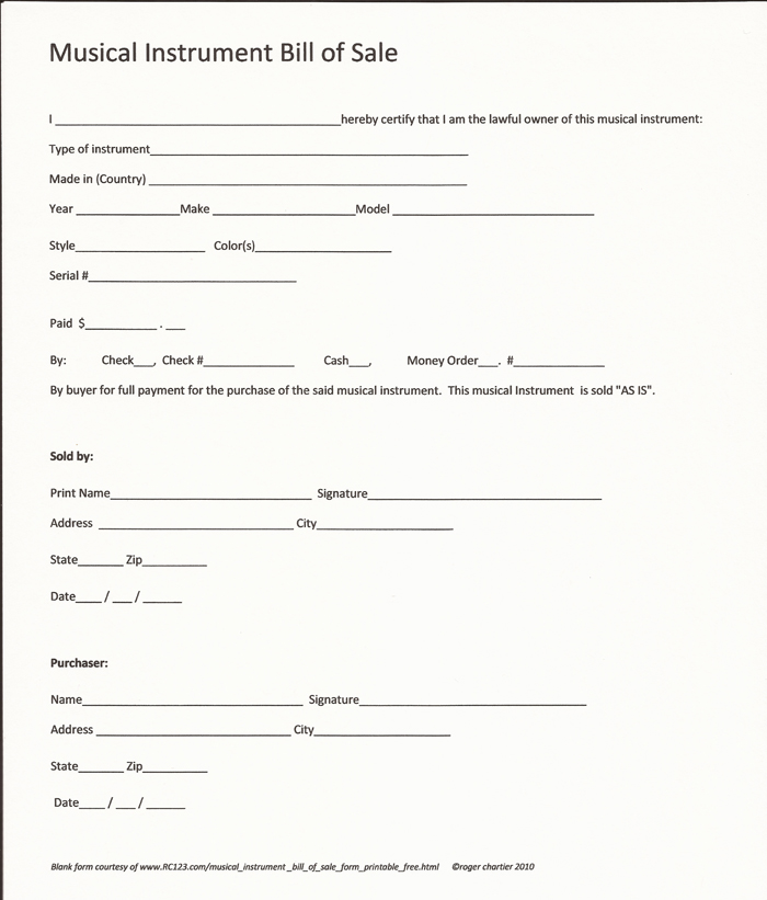 Musical Instrument Bill Of Sale Form - Printable - Free- RC123 - bill of sales forms