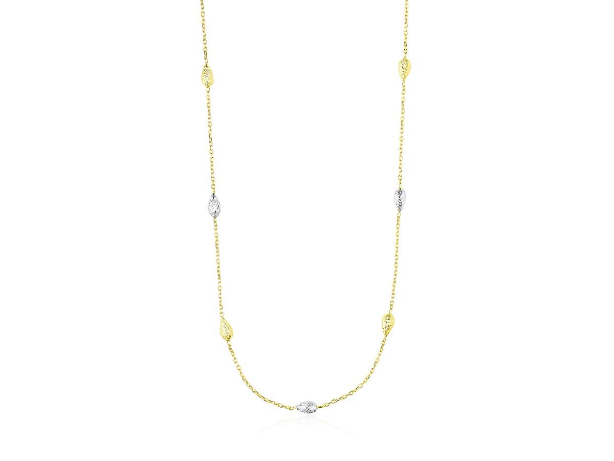 Diamond Cut Puffed Teardrop Station Necklace In 14k Two