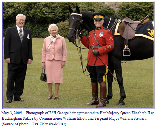 Photograph of Queen Elizabeth II receiving her latest horse from the RCMP.