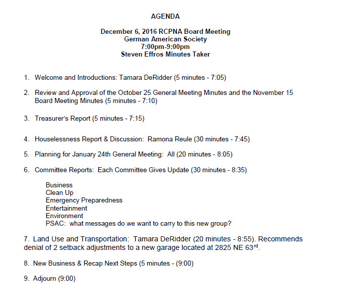 RCPNA Dec 6 Board Meeting Agenda Rose City Park Neighborhood - board meeting agenda